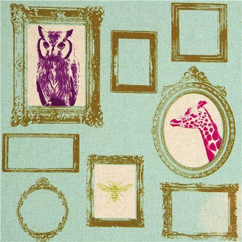 turquoise echino canvas fabric Frame owl giraffe deer