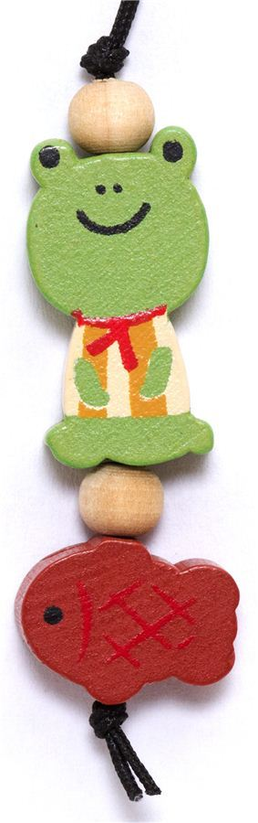 little green frog wooden phone strap