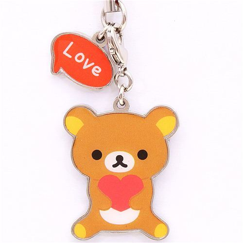Rilakkuma brown bear lucky charm love cellphone strap
