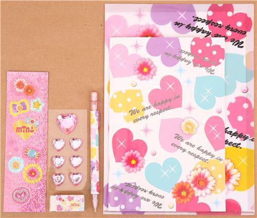 hearts and flowers stationery set with 6 pieces