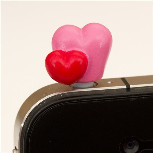 pink heart mobile phone plugy earphone jack accessory