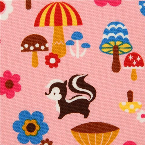 matt pink forest animal laminate fabric by Cosmo from Japan