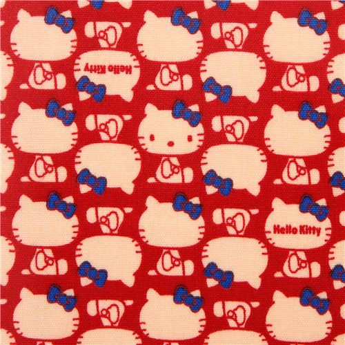 red Hello Kitty laminate fabric blue ribbon by Sanrio from Japan