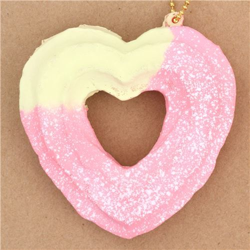 cute cream color pink heart shape churro white dusting squishy charm kawaii