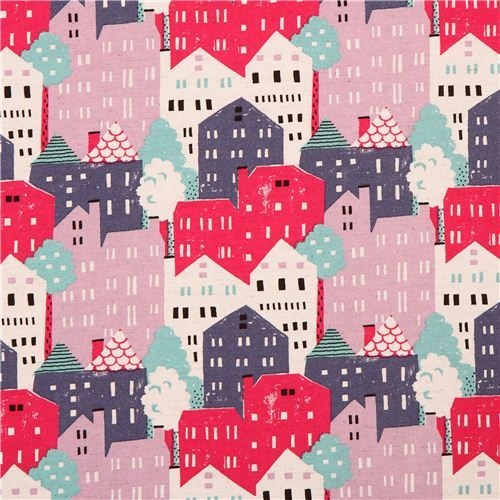 colorful town houses canvas fabric from Japan