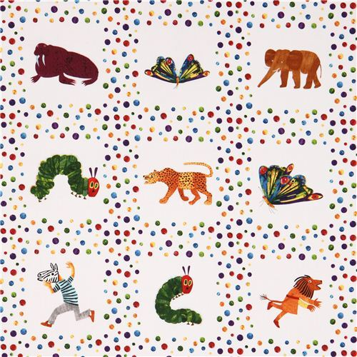white animal and dot fabric 'The Very Hungry Caterpillar' Andover USA