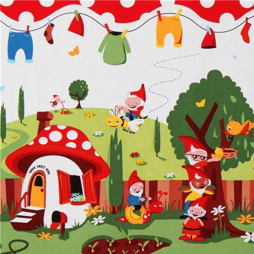 Michael Miller fabric Gnomeville gnomes dots