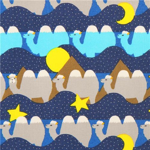 blue camel desert animal stripes cotton fabric