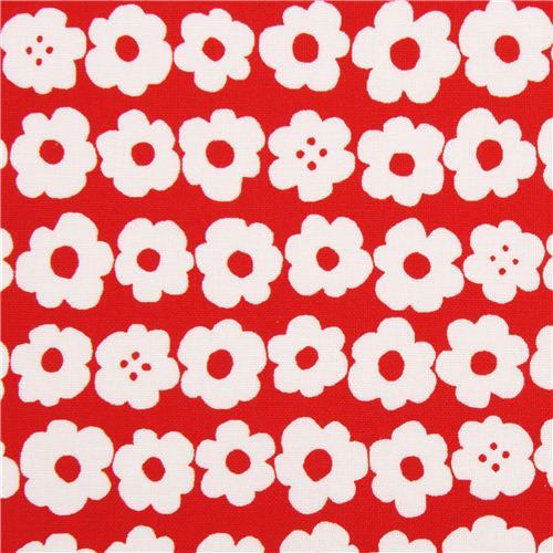 red cute white flower fabric by Kokka