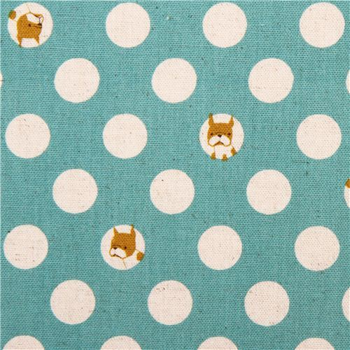turquoise dogs & dots Canvas fabric Kokka Japan