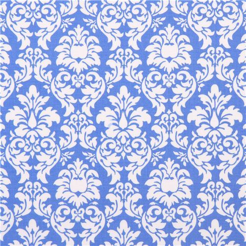 Delft blue Petite Dandy Damask ornament fabric Michael Miller Petite Paris