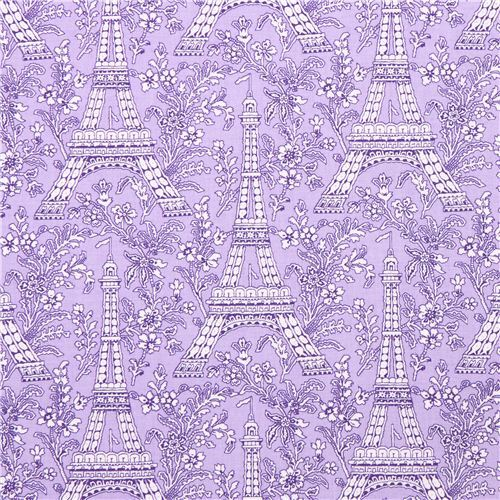 purple Paris Eiffel Tower flower fabric Michael Miller Petite Paris