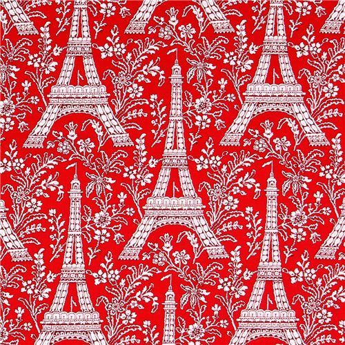 red Paris Eiffel Tower flower fabric Michael Miller Petite Paris