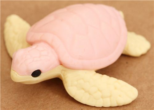 pink sea turtle eraser by Iwako