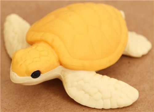yellow sea turtle eraser by Iwako