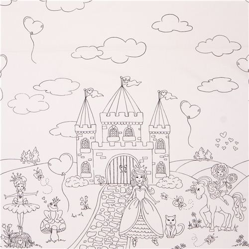 coloring panel border fabric with fairy princess castle Michael Miller