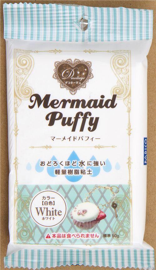 white waterproof Decollage clay Mermaid Puffy Japan