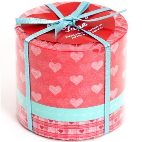 Washi Masking Tape deco tape set 3pcs with hearts