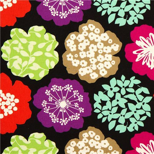 black echino canvas fabric colourful flowers from Japan
