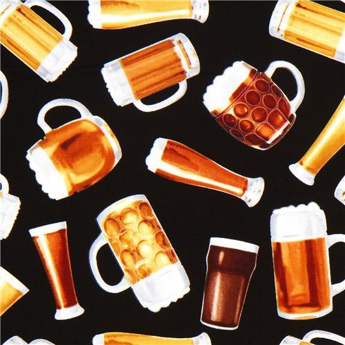 black beer glas fabric by Timeless Treasures from the USA