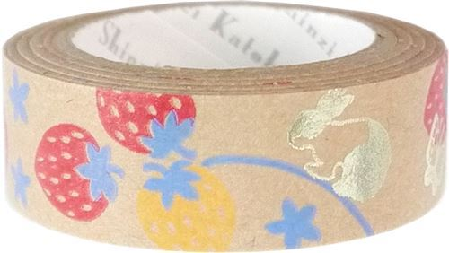 brown strawberry rabbit gold metallic craft Tape deco tape Shinzi Katoh Japan