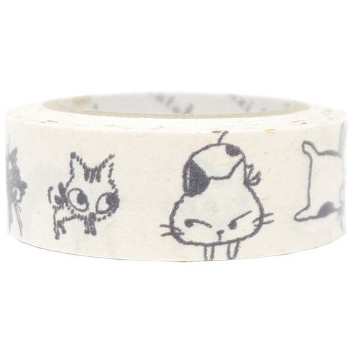 white cute and funny cat Banana Paper Washi Masking Tape deco tape
