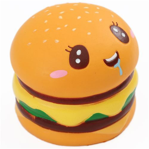 scented double hamburger with a face food squishy