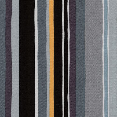 Robert Kaufman fabric black grey stripe Psychedelia