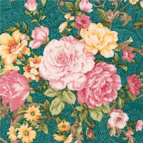 dark green Robert Kaufman fabric flower Lady Elizabeth