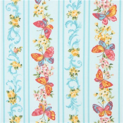 light turquoise Robert Kaufman fabric stripe butterfly flower Lady Elizabeth