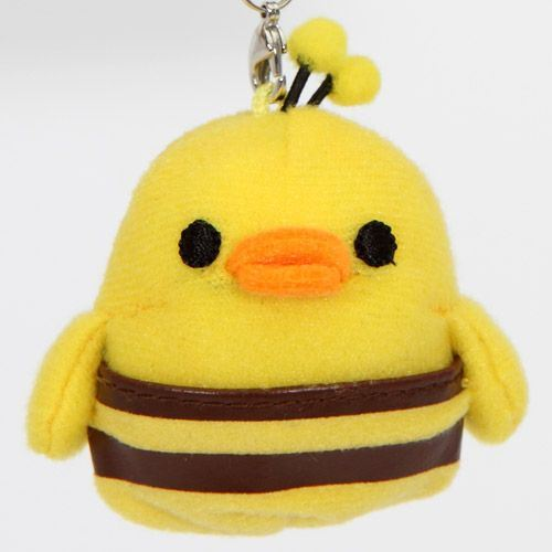 Rilakkuma plush cellphone charm yellow chick bee