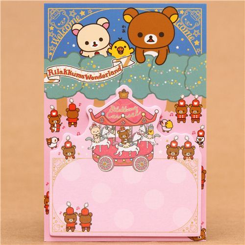 Rilakkuma Wonderland bear carousel Post-it bookmark sticker