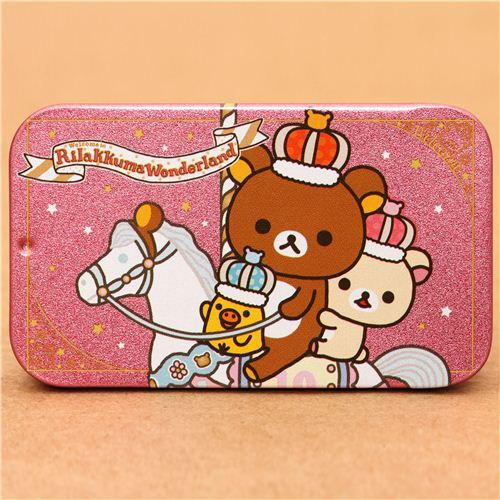 pink Rilakkuma Wonderland tin case pill box bear horse crown