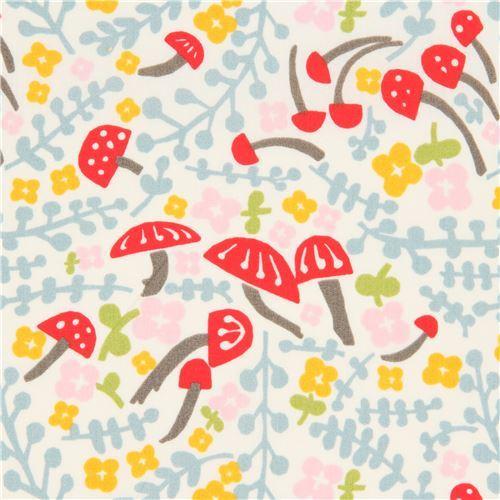 light cream with mushroom flower organic poplin fabric from the USA