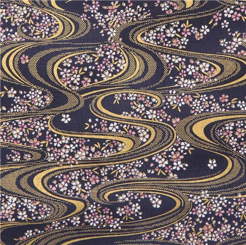 navy blue with wavy line flower gold metallic embellishment fabric from Japan