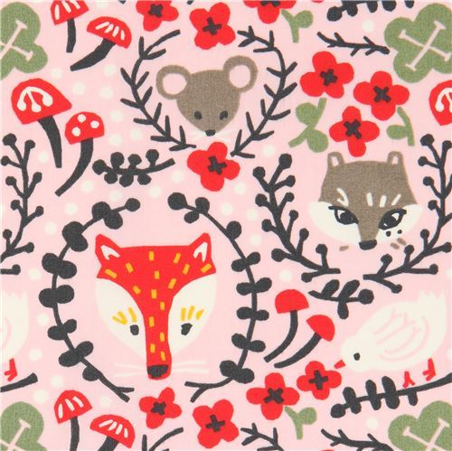 pink with fox animal flower organic poplin fabric from the USA