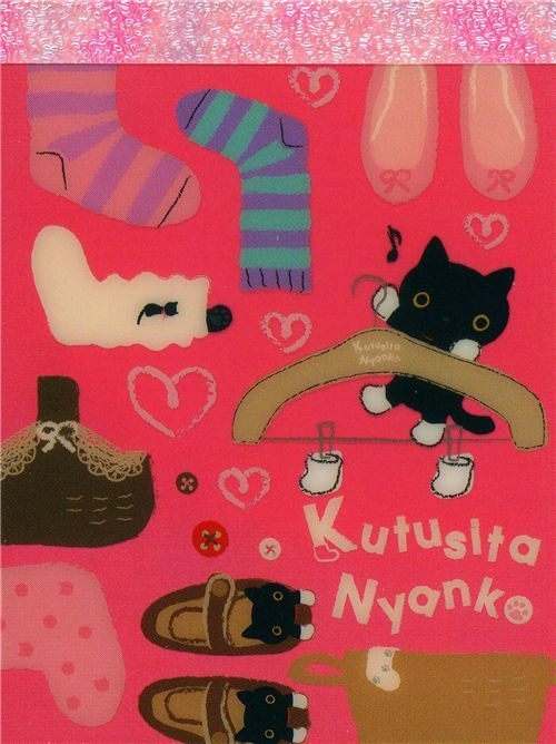 cute Kutusita Nyanko mini Memo Pad cats with clothes