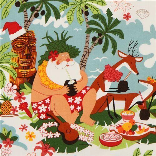 funny Christmas fabric Alexander Henry Surfin' Santa USA