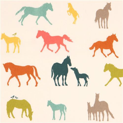 light cream with colorful horse silhouette organic fabric by birch from the USA