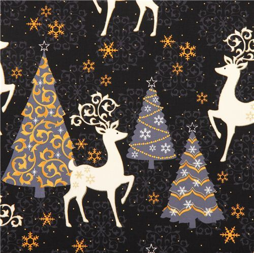 black Xmas tree deer Christmas fabric Quilting Treasures