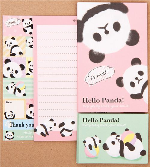 kawaii panda with ball mini Letter Set from Japan