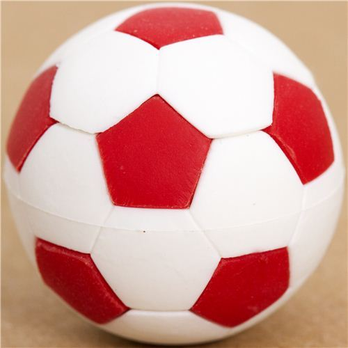 cool red and white soccer ball eraser by Iwako