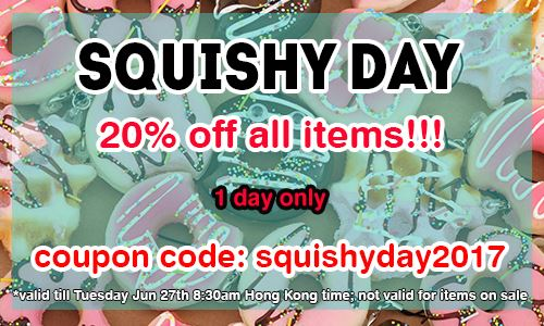 Squishy Day FLASH SALE on CuteSquishy.com! Get squishies 20% off! 1