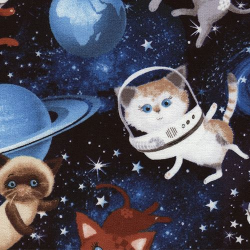 black fabric with cat in space dot by Timeless Treasures