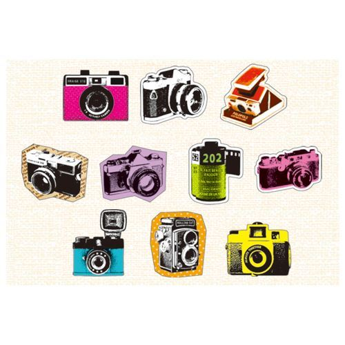retro camera colorful sticker sack by Mind Wave