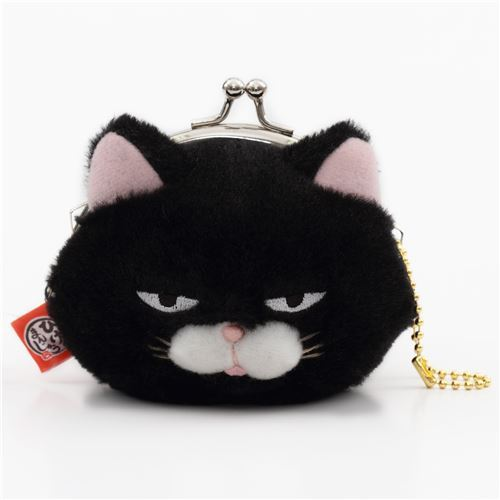 soft funny black cat plush Manjyu purse wallet from Japan