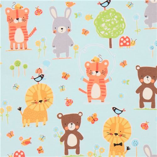 light blue cute rabbit lion Michael Miller animal flannel fabric from the USA