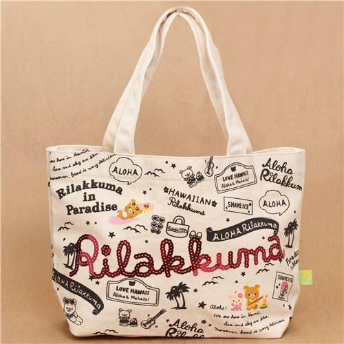 Aloha Rilakkuma Hawaii canvas linen handbag