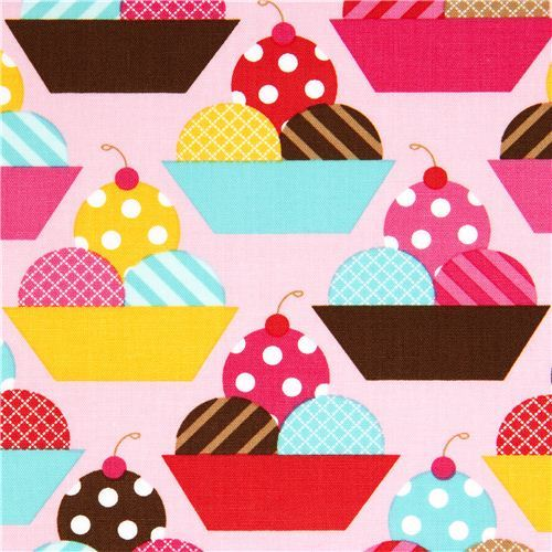 pink fabric with ice cream cups by Robert Kaufman