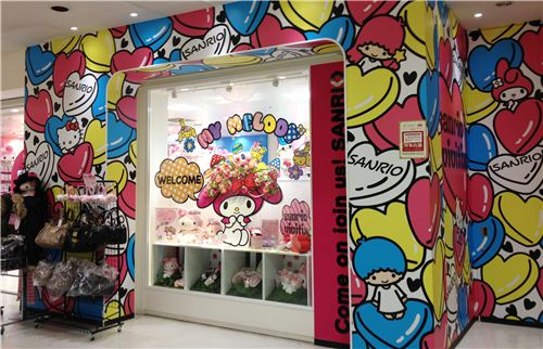 The Sanrio shop is decorated cutely